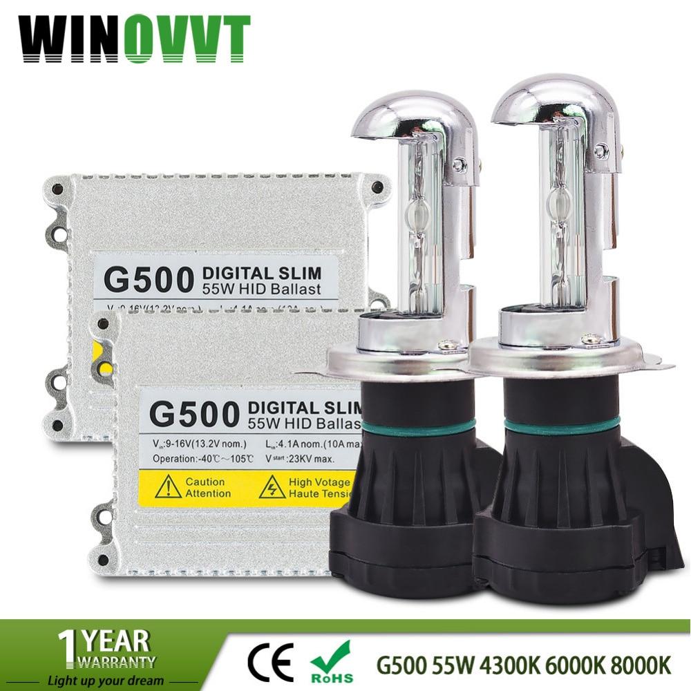 1 kit de lampes au xénon h4 kit de conversion G500 hid h4-3 au xénon faisceau au xénon bi 6000 k, 8000 k, h4 hi basse xénon