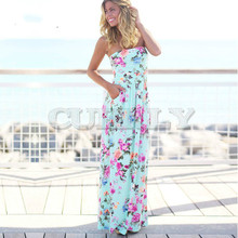 Sexy women dress strapless sleeveless summer long dress 2019 new beach floral print beach dress women maxi dress bohemian strapless sleeveless floral print women s dress