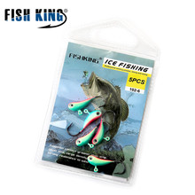 FISH KING Winter Ice Fishing Hook Lure Mini Metal Bait Fish 5Pcs 25mm/1.7g Lead Head Hook Bait Jigging Fishing Tackle 10 Colorus