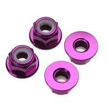 4pcs set 102049 1 10 4WD RC Car Purple Aluminum Nylon Nut M4 02190 Upgrade Parts
