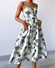 Women summer dress 2019 new  button halter sexy mid-calf dresses Sunflower pineapple pattern print sling