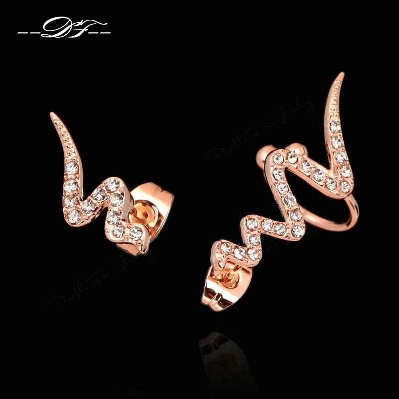 Vintage Serpentine Cubic Zirconia Snake Stud Earrings SilverRose