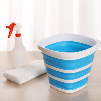 Silicone Bucket for Fishing Promotion Folding Bucket Car Wash Outdoor Fishing Supplies Square 10L Bathroom Kitchen Camp Bucket plastic