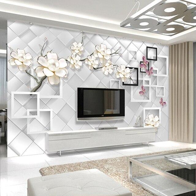 Personnalisé 3D Photo Papier Peint Blanc Fleur Bijoux 3D TV Fond ...