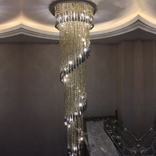 hot deal buy spiral design luxury crystal chandelier modern long lighting fixtures for hotel projects kronleuchter kristall led lamp