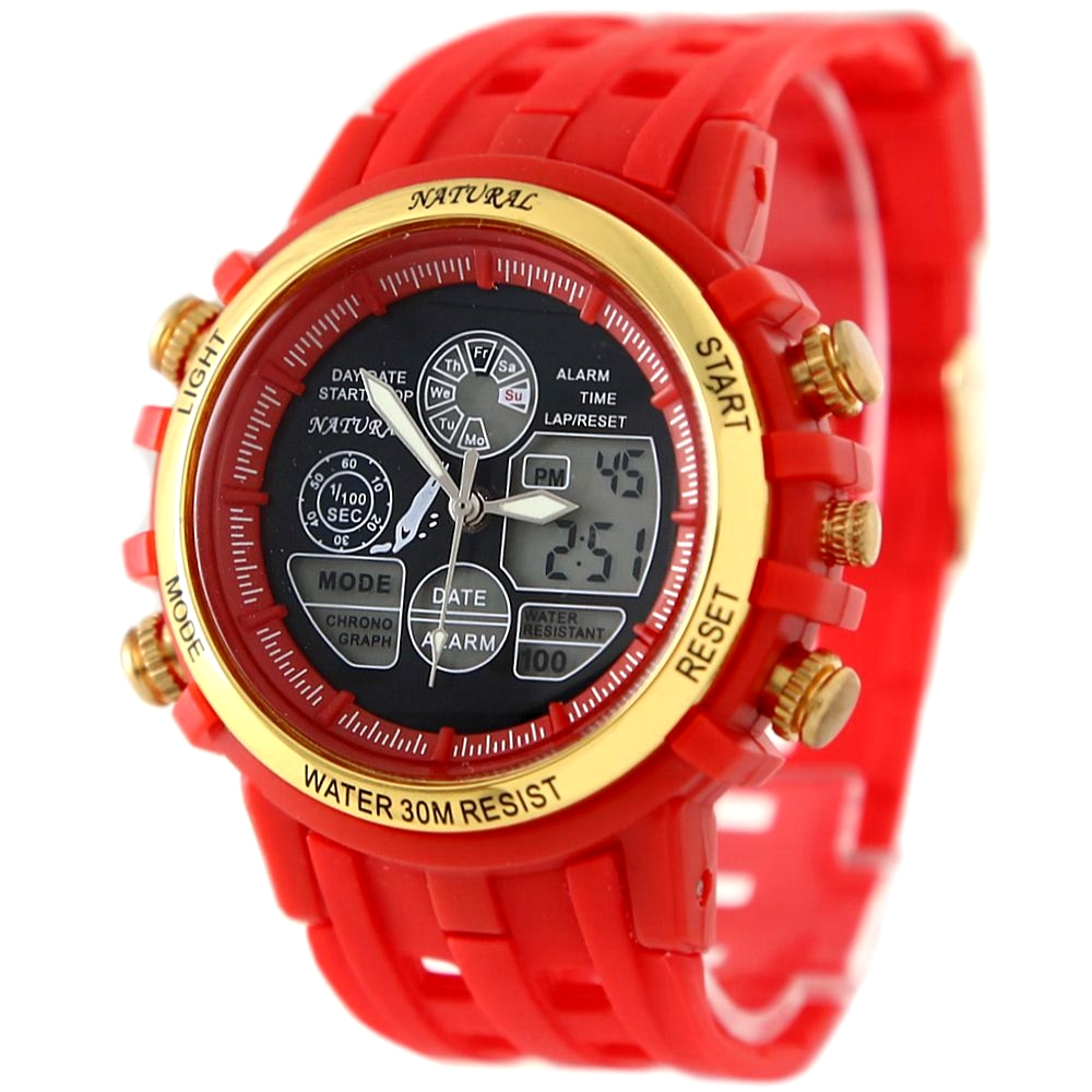 ALEXIS Brand Dual Time Smart Red Gold Tone Elegant Date Water Resist Gen't Analog Digital Watch men sports watches montre homme цена