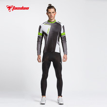 Tasdan Professional Mens Cycling Jersey Suits Long Sleeve Top Full Short and (bib) Pants Suit