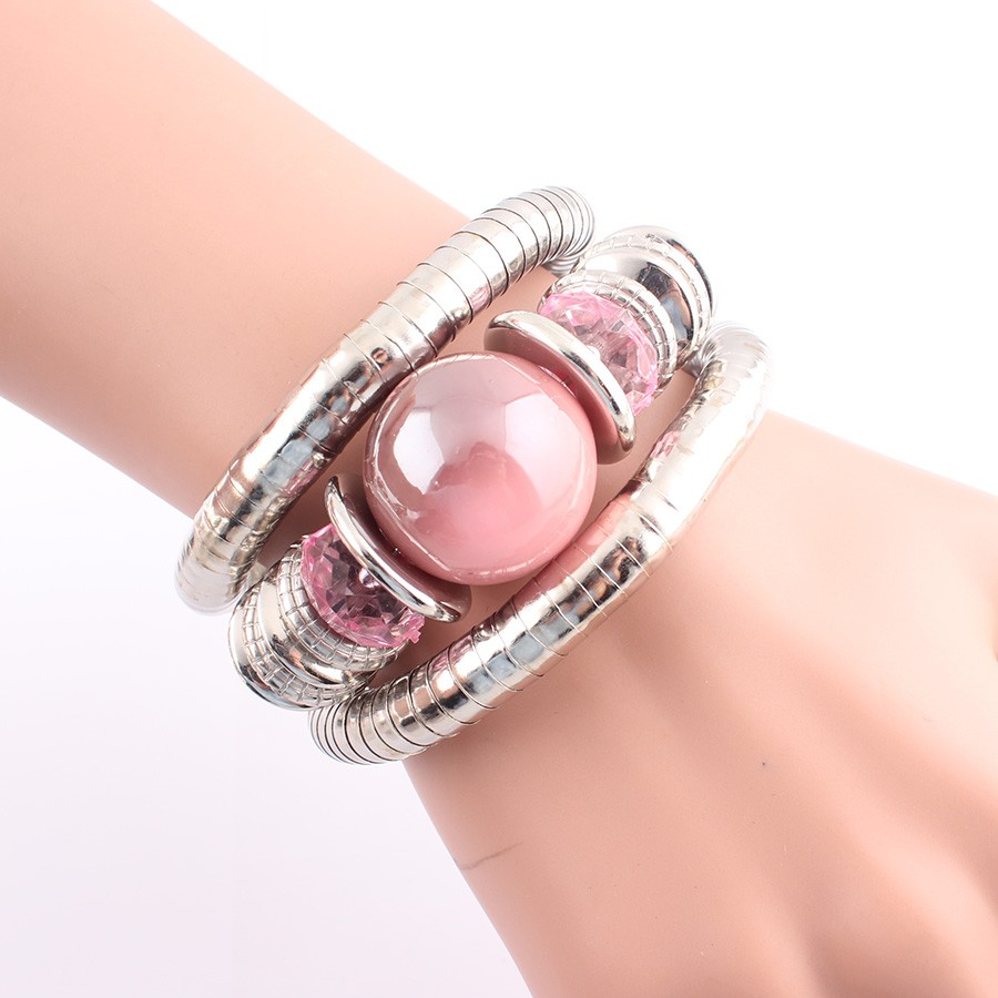 18 Tibetan Silver Snake Bracelets for Women Men Resin Inlay Simulated Pearl Beads Flexible Bangles Pulseras Mujer B581 20