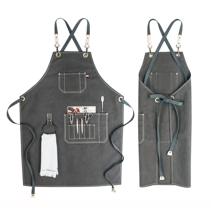 2018 BBQ Denim canvas Apron Bib Leather Chef Kitchen Apron for Women Men Pockets home barber