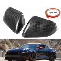 Autoleader Real Black Carbon Fiber Side Mirror Covers With LED Signal for Ford for Mustang GT 2015 2017