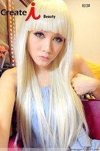 lady gaga party wig with 65cm blonde long straight hair with bang in a line free shipping