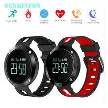 Sunkinfon DM58 Смарт-часы браслет Приборы для измерения артериального давления трекер сердечного ритма Мониторы cardiaco IP68 Водонепроницаемый для IOS Android