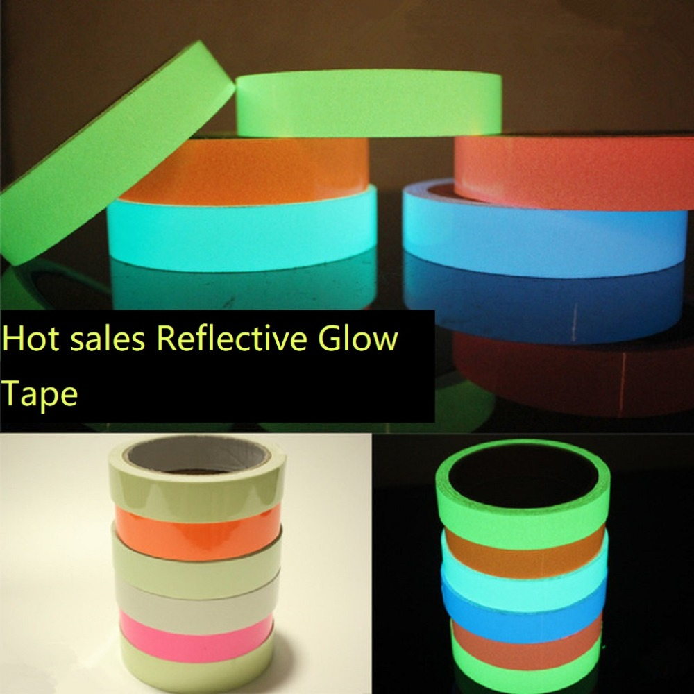 2018 NEW PVC Reflective Glow Tape Multi-Color Self-adhesive Sticker Removable Fluorescent Glowing Dark Striking Warning Tapes multi color 1 roll 20m marking tape 100mm adhesive tape warning marker pvc tape