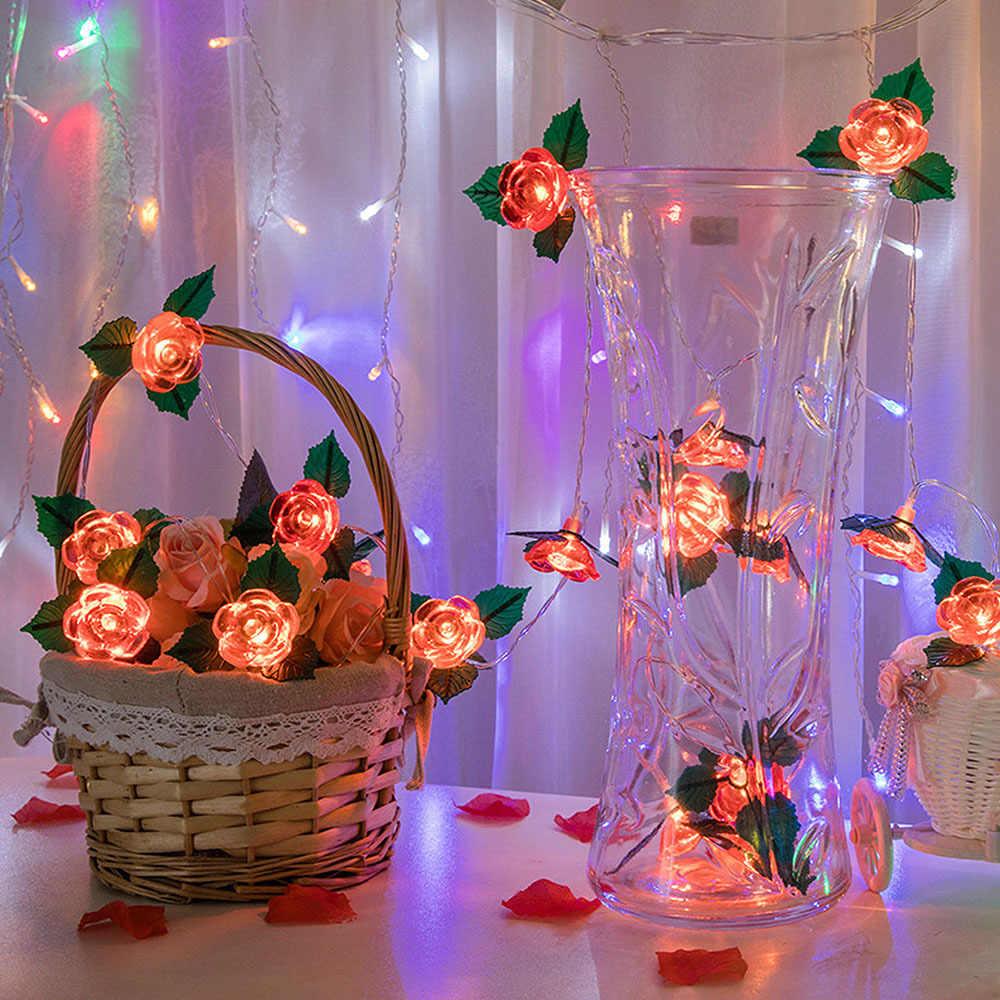 1.5/3/6M 2*AA Battery LED Rose Christmas Lights Holiday String Lights Valentine Wedding Decoration Flower Bulbs LED Lamp