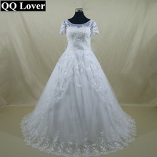 QQ Lover 2017 The Latest Half SLeeves Lace Bow Wedding Dress Custom-made Vestido De Noiva Bridal Gowns