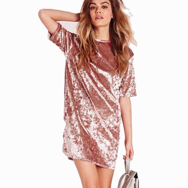 2017, Новая мода Повседневное летнее женское платье Свободные Твердые короткий рукав Вельветовое платье пикантные вечерние Мини-платья халат Vestidos De Fiesta