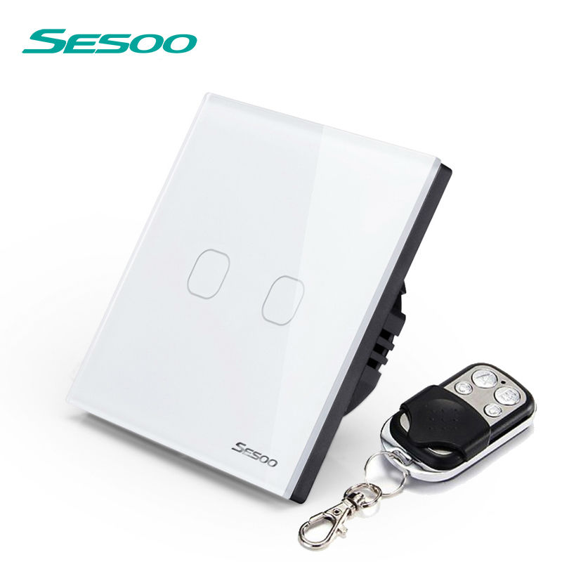 EU/UK Standard SESOO Remote Control Switches 2 Gang 1 Way,Crystal Glass Switch Panel,Remote Wall Touch Switch+LED Indicator remote touch wall switch uk standard 1 gang 1way rf control light white crystal glass panel switches electrical