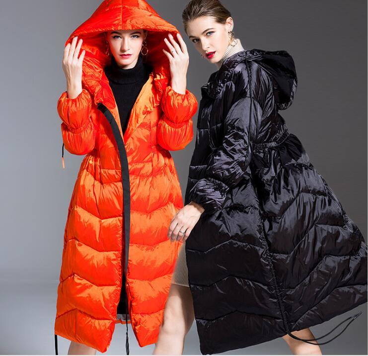 2018 Nouvelles Femmes Extérieur Épais Doudoune hiver Femmes Mode Bas sweatshirt à capuche long Down Parkas Slim Fit Manteau Chaud FR8002