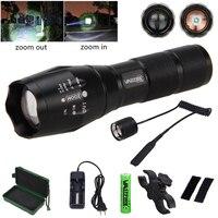 Q5 T6 Tático Arma LEVOU Luz 5000 Lumen Zoomable Verde/Vermelho/Branco luz Do Flash Caça + Arma de Montagem + 18650 Bateria + Imprensa Interruptor Remoto