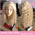 Hot selling fashion #613 blonde wig long kinky curly wig synthetic lace front wig heat resistant no shedding no tangle
