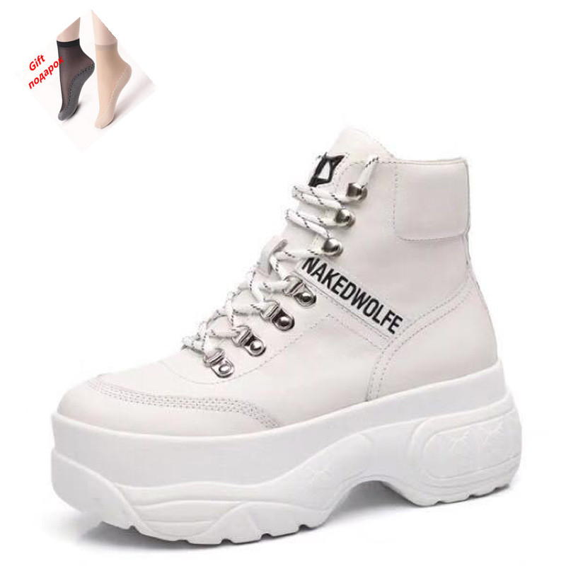 Brand high top casual shoes women s leather British women s high heeled round head retro
