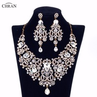 Chran Gold Plated Rhinestone Crystal Necklace Earrings Bridal Jewellery Sets Wedding Accessories Jewelry For Women Gifts
