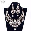 Chran Chapado En Oro Rhinestone Crystal Aretes Collar de Accesorios de La Joyería Nupcial Conjuntos de Joyas de Boda Para Las Mujeres Regalos CRJS163