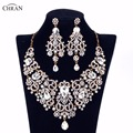 Chran Gold Plated Rhinestone Crystal Necklace Earrings Bridal Jewellery Sets Wedding Accessories Jewelry For Women Gifts CRJS163