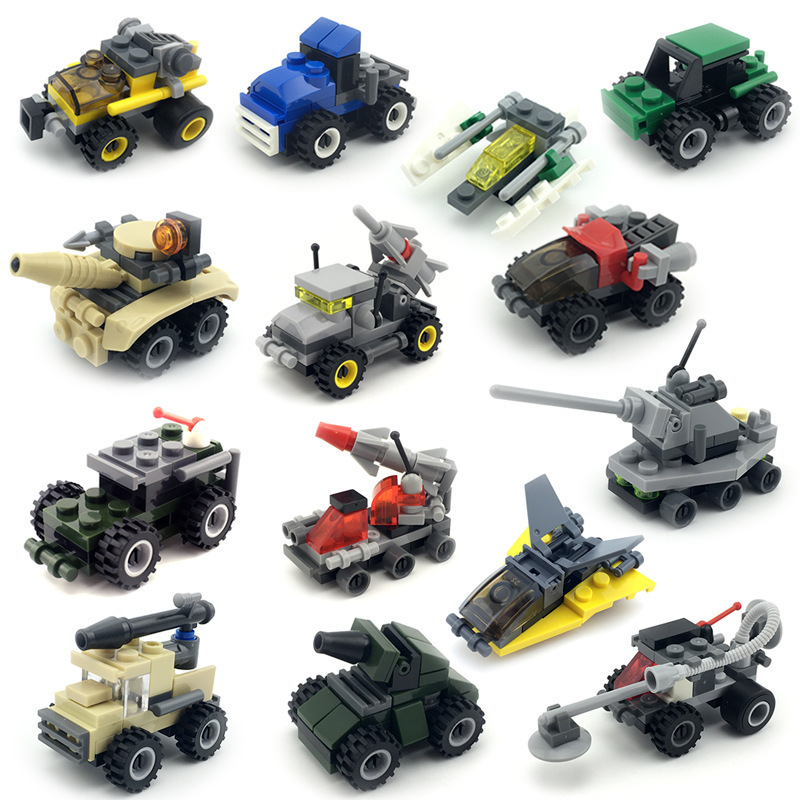 7CM Mini Aircraft <font><b>tank</b></font> armored vehicles Car Motor Dumper puzzle Building Blocks Educational toys Kids Toys Xmas Gifts 2PCS image