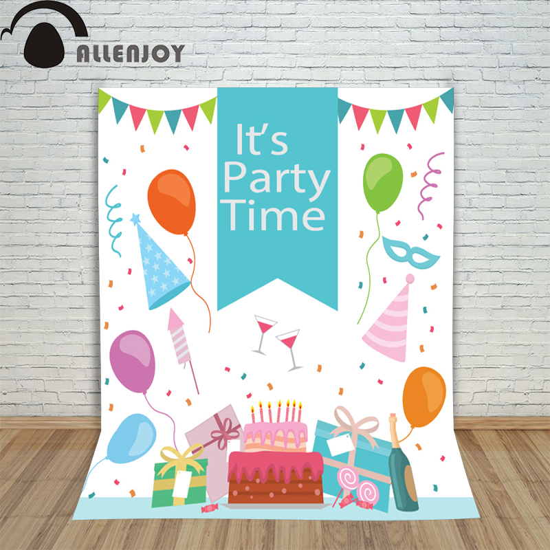 Allenjoy Background Photography Birthday Party Backdrop Cute Balloons Gifts Kids Children Photocall