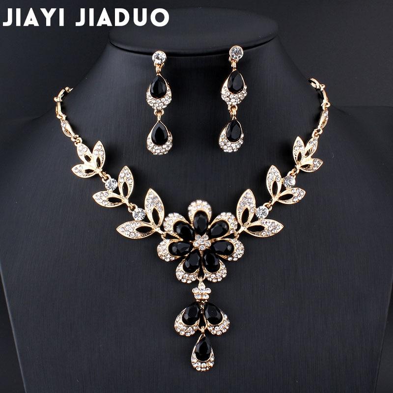 Jewelry-Set Costume Necklace Golde-Color Wedding Black Women African Hot Jiayijiaduo