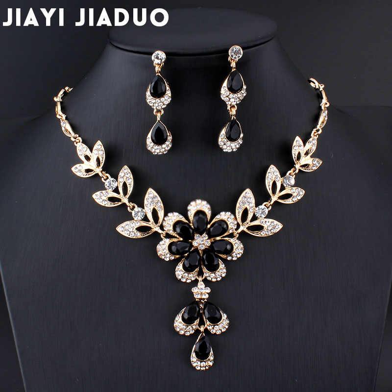 Jiayijiaduo Heiße Afrikanische weibliche kostüm Schmuck set für frauen Gold farbe Schwarz Rot Golde-farbe Halskette ohrringe set hochzeit
