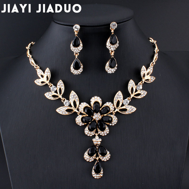Jiayijiaduo Hot African Female Costume Jewelry Set For Women Gold Color Black Red Golde