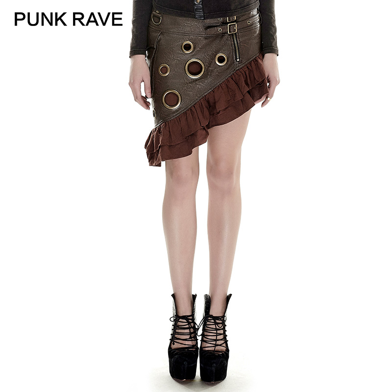 PUNK RAVE Steampunk Flounce Kilt Texture Coarse-grain PU Leather Symmetrical Skirt Rock Vintage Knee Length Party Women Clothing