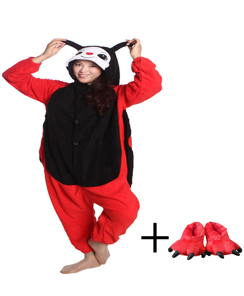 Cartoon Red and black Ladybug Costume Animal Onesie Jumpsuits Pajamas Gentle Indoor Floor Shoes For Christmas Gifts
