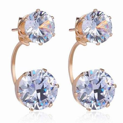 Women Fashion Drop Ear Studs Jewelry Double Rhinestone Jacket Earrings Gift