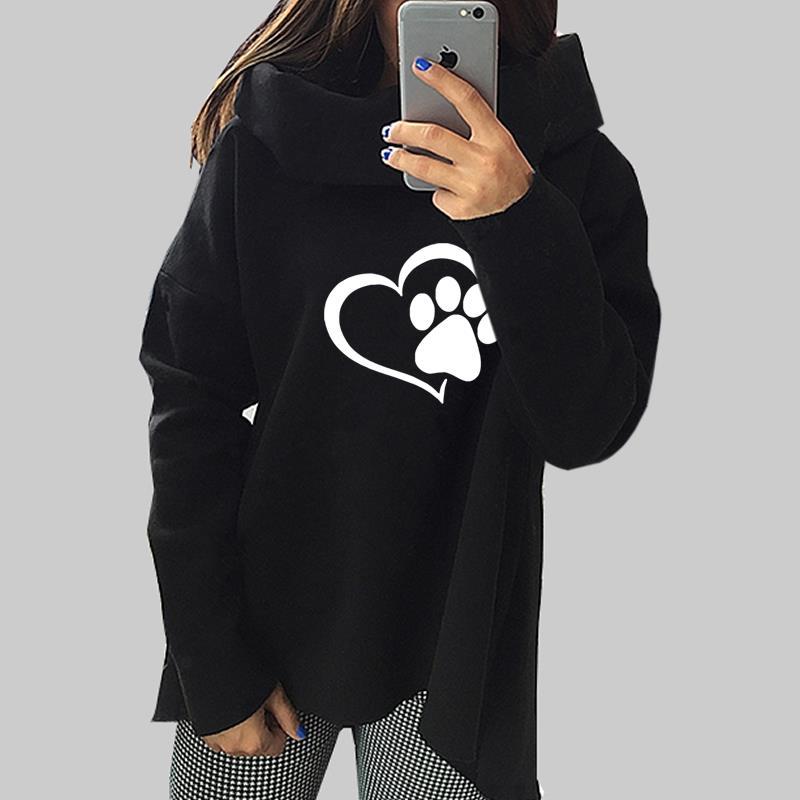 Gatto animale cane 2018 Hoodies Delle Donne di Inverno Sciarpa Collare A Maniche Lunghe Moda Casual Autunno Felpe Pullover Ruvida