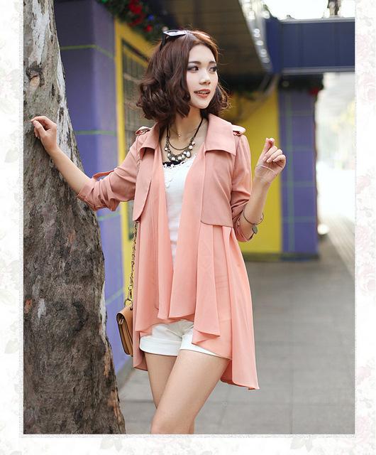 Mujeres de encaje de foso delgada Outwear la ropa cazadora Cardigan suéter flojo prevenga toman el sol capa con cinturón 3 colores envío gratis