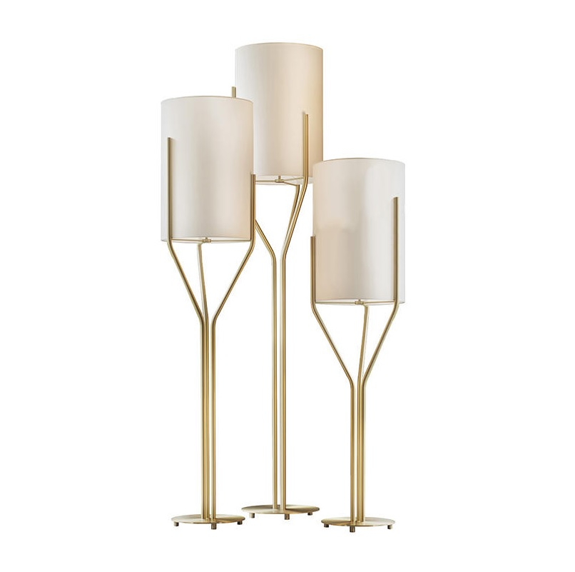 Germany Design Brass Floor Lamp / Fabric Shade / 160cm Height