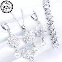 White Zirconia Bridal Jewelry Sets Women Silver 925 Pearls Jewelry Wedding Bracelet Earrings Ring Necklace Pendant Set Gift Box