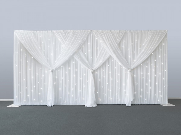 3c936e57eb1 10ft x 20ft starlit Wedding backdrops pure white stage curtain wedding  decoration background veil including curtain