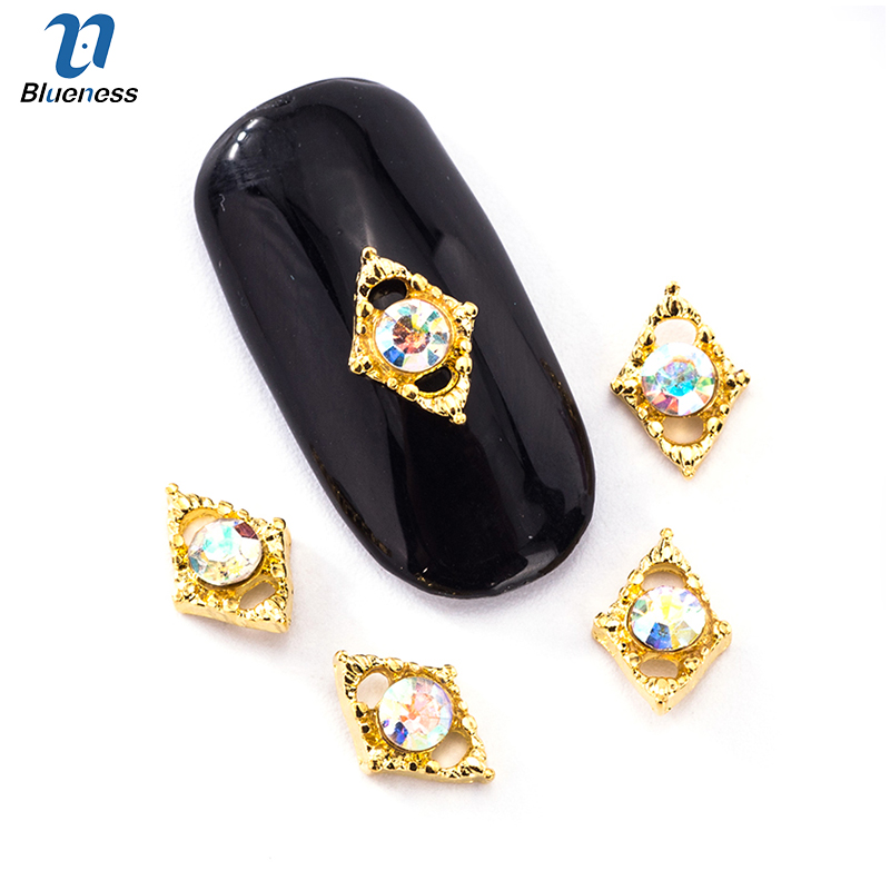 Blueness 10Pcs/Lot Gold Silver Alloy 2Color Rhinestones Diamond Design Manicure Nail Art Supply Nail Art Decoration Studs TN1923 300pcs set gold silver 3d alloy nail art decoration diy glitter rhinestones manicure nail accessories triangle design with boxes