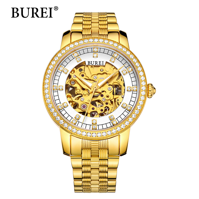 BUREI Woman Watch Top Fashion Brand Female Clock Diamond Sapphire Mechanical Wristwatches Gold Steel Band Waterproof Watches Hot burei woman watch top fashion brand female clock diamond sapphire mechanical wristwatches gold steel band waterproof watches hot