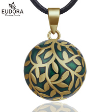 Eudora 20mm olive leaf Mexican Bola Harmony Chime Ball Angel Caller Pregnancy Pendant Necklace for Women Fine Jewelry N14NB318-1