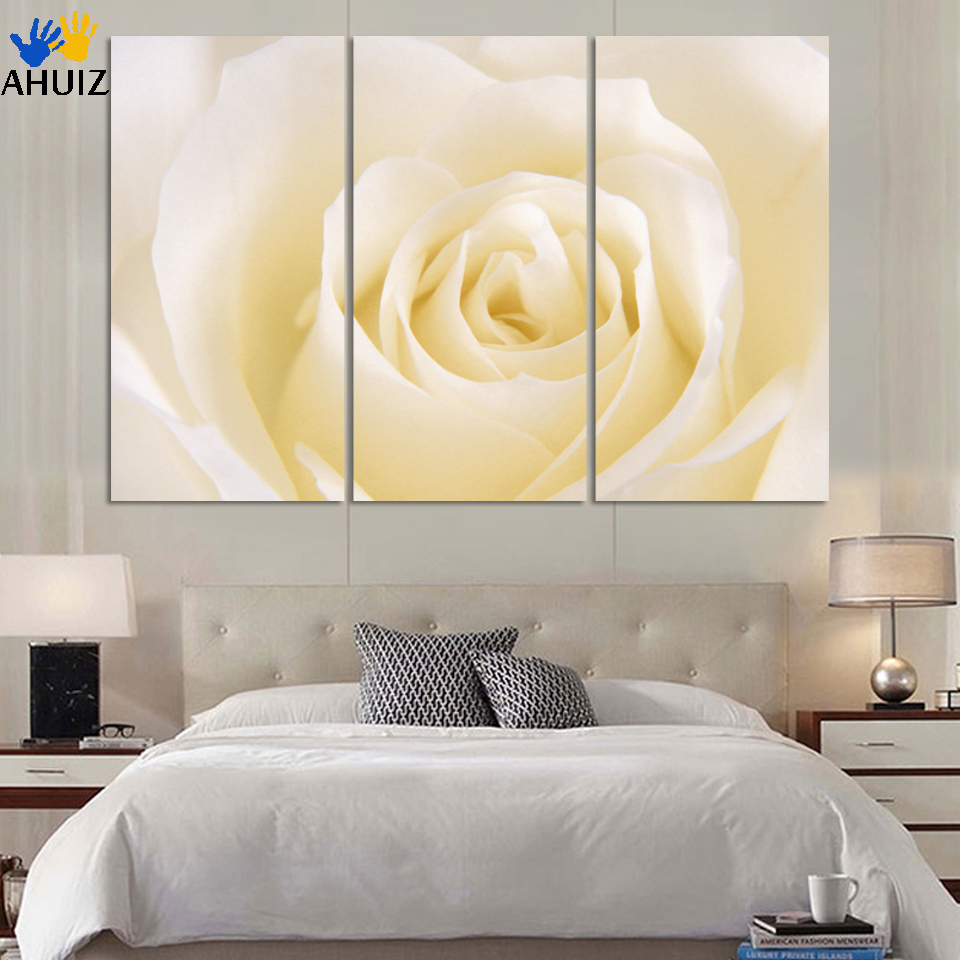 Direct factory price!3 piece white rose flower picture print living ...