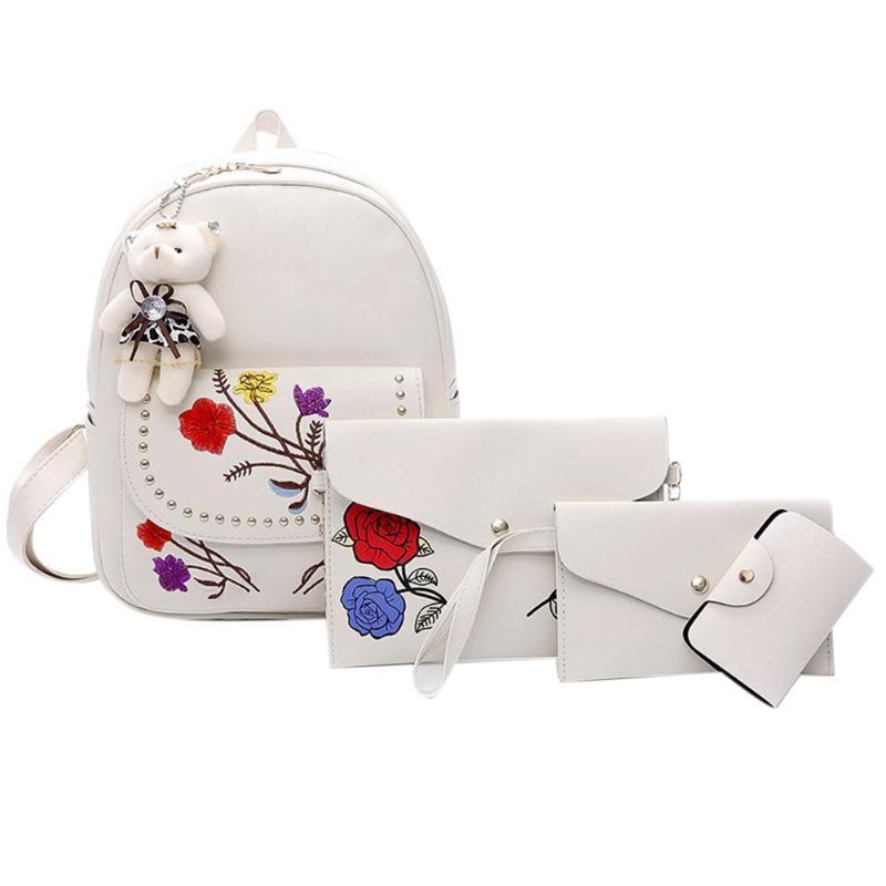 4pcs Women Embroidery Backpack Casual Floral Pu Leather Backpack School Bag For Teenage Girls Shoulder Bag Mochila Female Bags