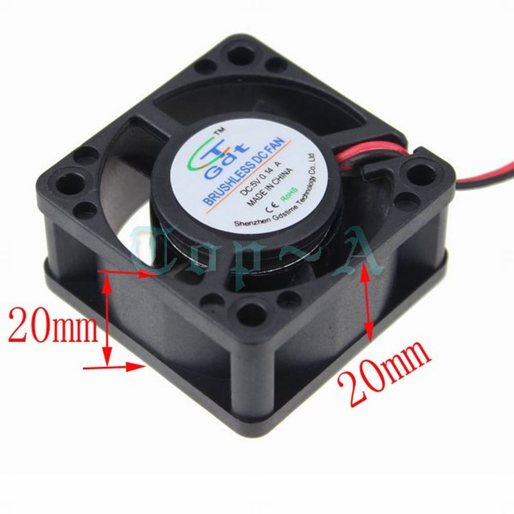 Gdstime 1 Piece 40mm x 40mm x 20mm DC 5V 2 Pin Small Mini Brushless Cooling Cooler Fan 20 pieces lot gdstime 40mm 40 x 40 x 10mm 4010s dc 12v 2p brushless cooler cooling fan
