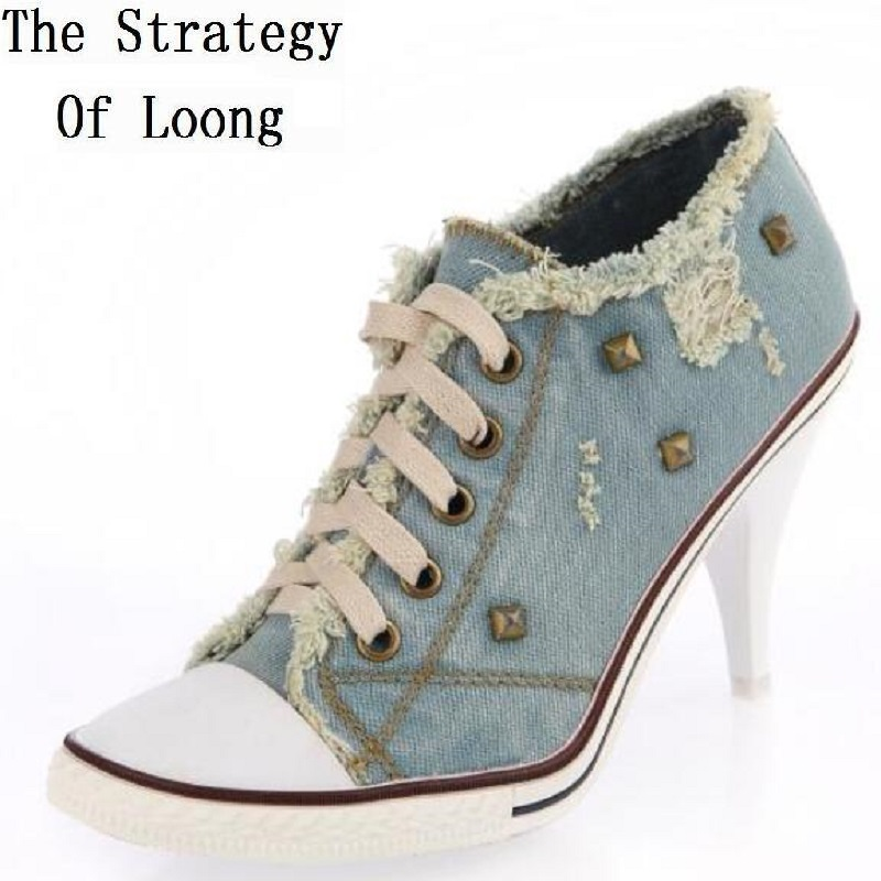 Europe America Style Women Spring Autumn Thin High Heel Lace up Rivets Fashion Casual Denim Canvas