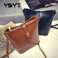 YBYT Brand 2017 New PU Leather Women Retro Casual Small Bag Lady Simple Bucket Package Female
