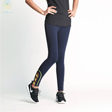 2016 Women Royal Blue Crus Overlapping Hollowed Out Sports Pants Capri Running Tights Fitness Yoga Gym